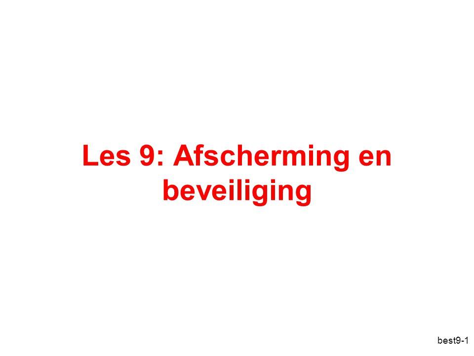 best9-2 Overzicht Afscherming –Afschermingsdomeinen –Toegangsmatrix Beveiliging –Het beveiligingsprobleem –Authenticatie –Programmabedreigingen –Systeembedreigingen