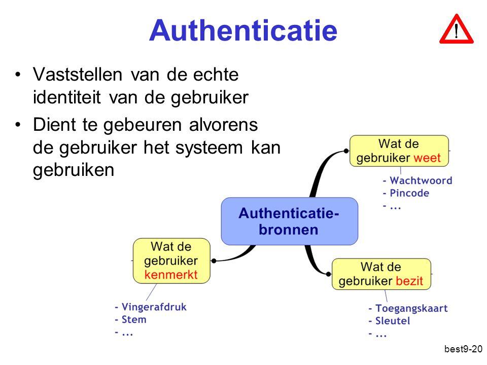best9-20 Authenticatie Vaststellen van de echte identiteit van de gebruiker Dient te gebeuren alvorens de gebruiker het systeem kan gebruiken