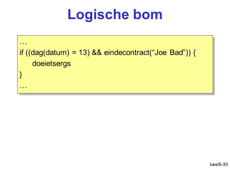 """best9-30 Logische bom … if ((dag(datum) = 13) && eindecontract(""""Joe Bad"""")) { doeietsergs } … if ((dag(datum) = 13) && eindecontract(""""Joe Bad"""")) { doei"""