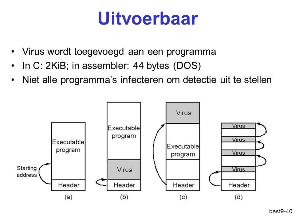 best9-40 Uitvoerbaar Virus wordt toegevoegd aan een programma In C: 2KiB; in assembler: 44 bytes (DOS) Niet alle programma's infecteren om detectie ui