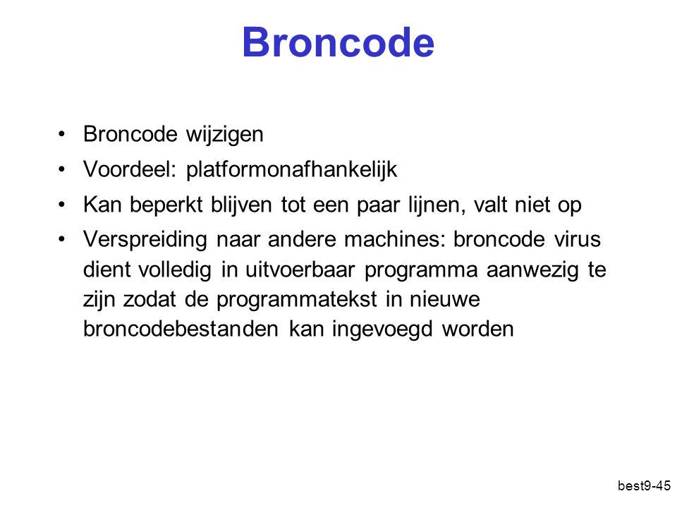 best9-45 Broncode Broncode wijzigen Voordeel: platformonafhankelijk Kan beperkt blijven tot een paar lijnen, valt niet op Verspreiding naar andere mac