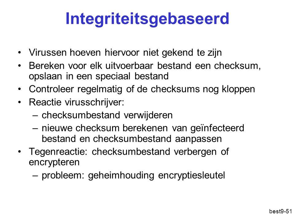 best9-51 Integriteitsgebaseerd Virussen hoeven hiervoor niet gekend te zijn Bereken voor elk uitvoerbaar bestand een checksum, opslaan in een speciaal
