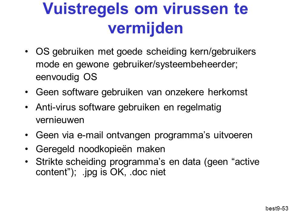 best9-53 Vuistregels om virussen te vermijden OS gebruiken met goede scheiding kern/gebruikers mode en gewone gebruiker/systeembeheerder; eenvoudig OS