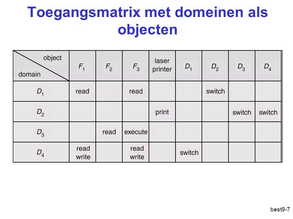 best9-7 Toegangsmatrix met domeinen als objecten