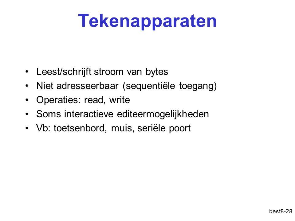 best8-28 Tekenapparaten Leest/schrijft stroom van bytes Niet adresseerbaar (sequentiële toegang) Operaties: read, write Soms interactieve editeermogelijkheden Vb: toetsenbord, muis, seriële poort