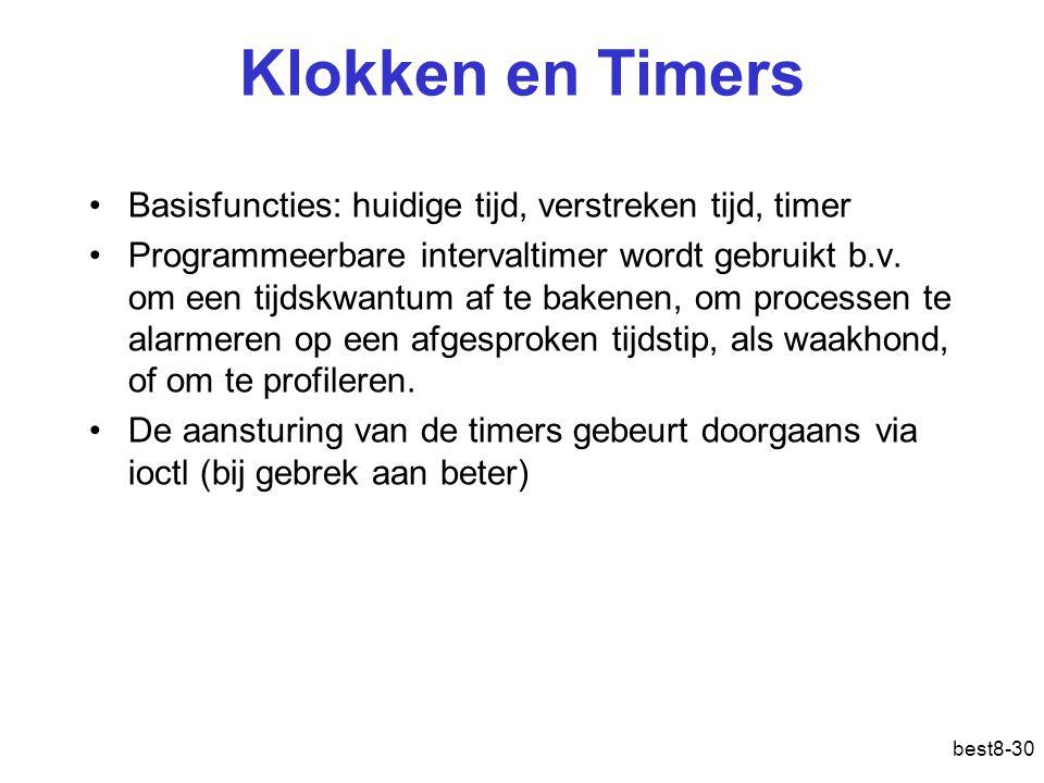 best8-30 Klokken en Timers Basisfuncties: huidige tijd, verstreken tijd, timer Programmeerbare intervaltimer wordt gebruikt b.v.