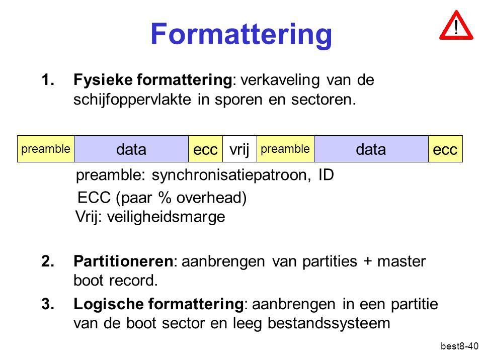 best8-40 Formattering 1.Fysieke formattering: verkaveling van de schijfoppervlakte in sporen en sectoren.