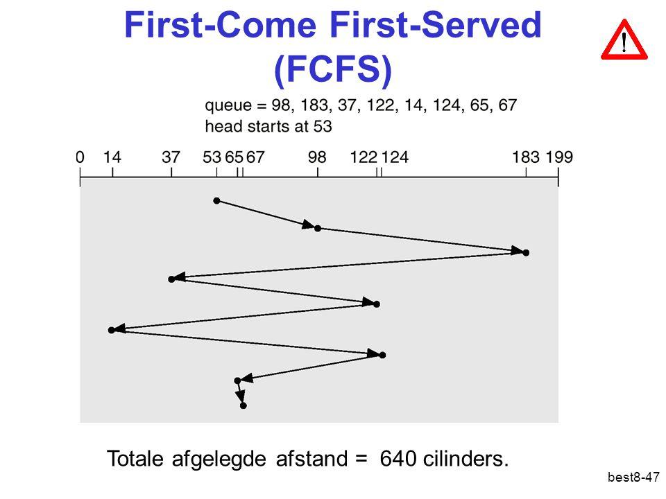 best8-47 First-Come First-Served (FCFS) Totale afgelegde afstand = 640 cilinders.