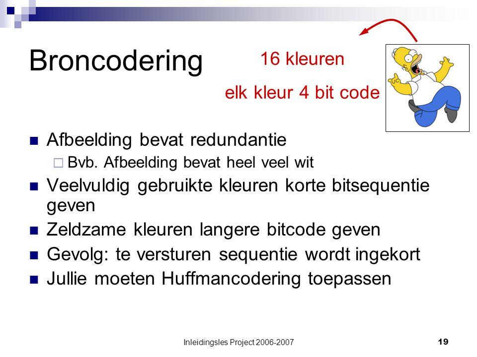 Inleidingsles Project 2006-200719 Broncodering Afbeelding bevat redundantie  Bvb.