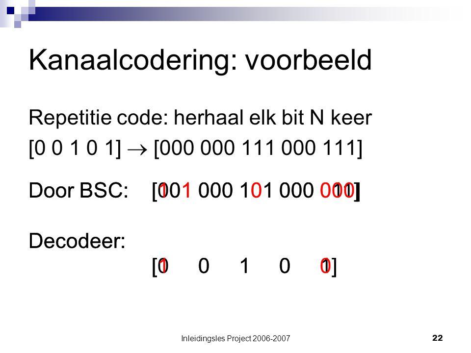 Inleidingsles Project 2006-200722 Kanaalcodering: voorbeeld Repetitie code: herhaal elk bit N keer [0 0 1 0 1]  [000 000 111 000 111] Door BSC: [001 000 101 000 011] Decodeer: [0 0 1 0 1] Door BSC: [101 000 101 000 000] Decodeer: [1 0 1 0 0]