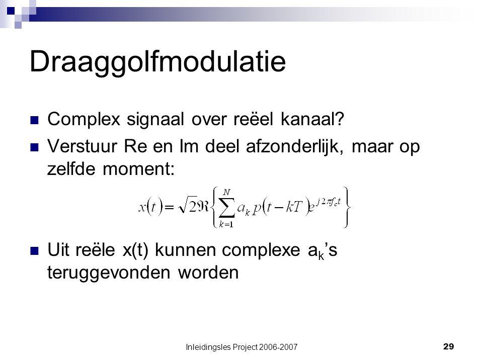 Inleidingsles Project 2006-200729 Draaggolfmodulatie Complex signaal over reёel kanaal.