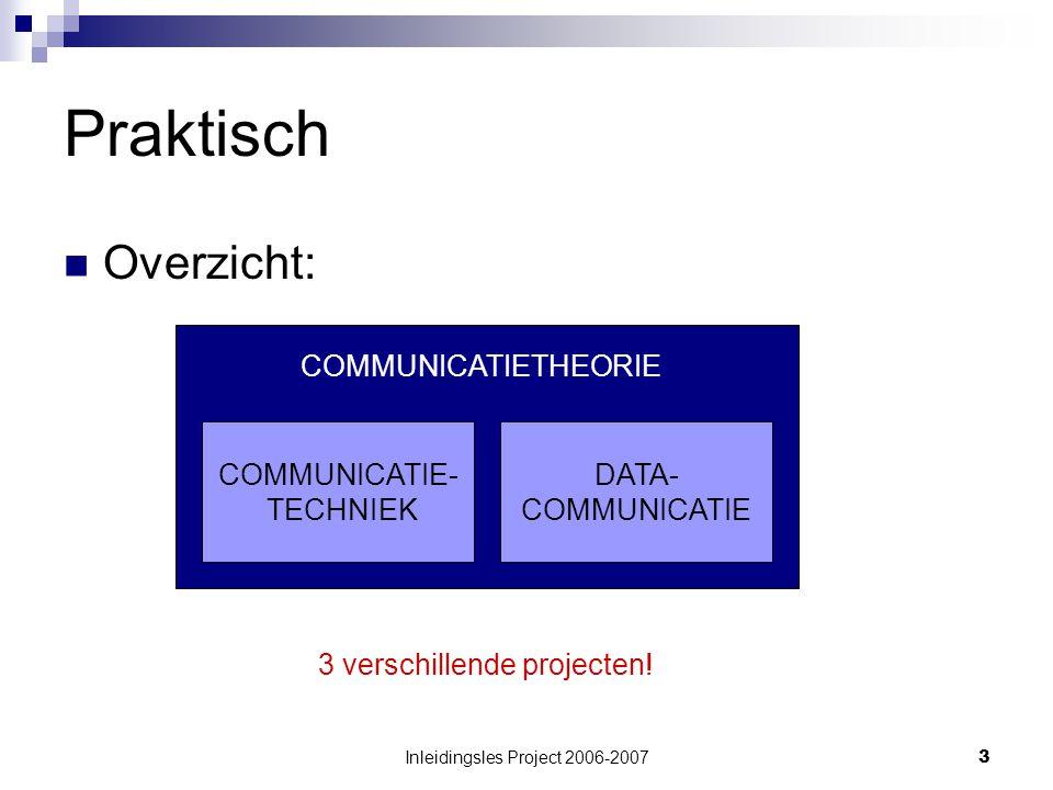 Inleidingsles Project 2006-20073 Praktisch Overzicht: COMMUNICATIE- TECHNIEK DATA- COMMUNICATIE COMMUNICATIETHEORIE 3 verschillende projecten!