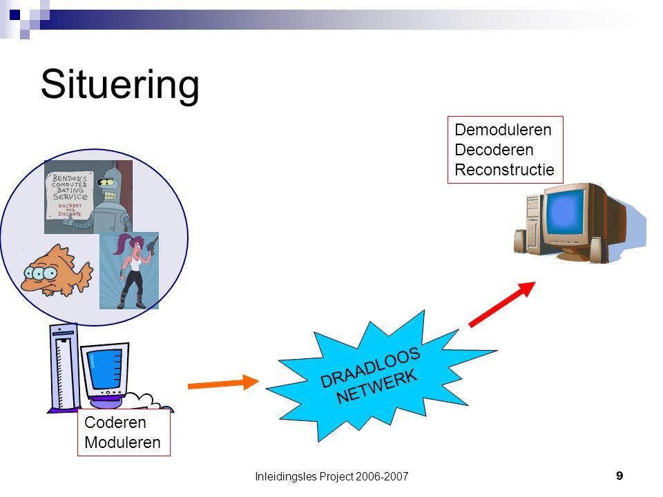 Inleidingsles Project 2006-20079 Situering Demoduleren Decoderen Reconstructie Coderen Moduleren DRAADLOOS NETWERK