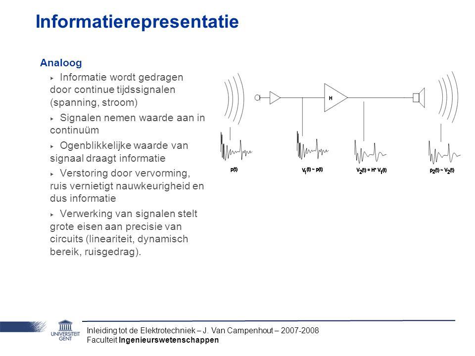 Inleiding tot de Elektrotechniek – J. Van Campenhout – 2007-2008 Faculteit Ingenieurswetenschappen Informatierepresentatie Analoog ‣ Informatie wordt