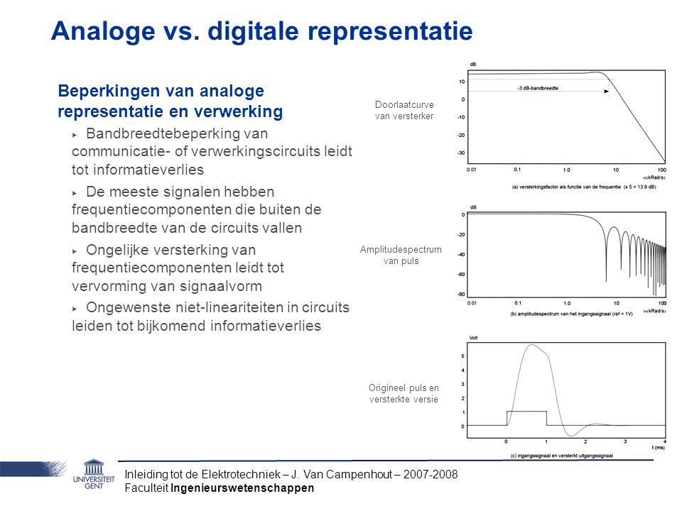 Inleiding tot de Elektrotechniek – J. Van Campenhout – 2007-2008 Faculteit Ingenieurswetenschappen Analoge vs. digitale representatie Beperkingen van