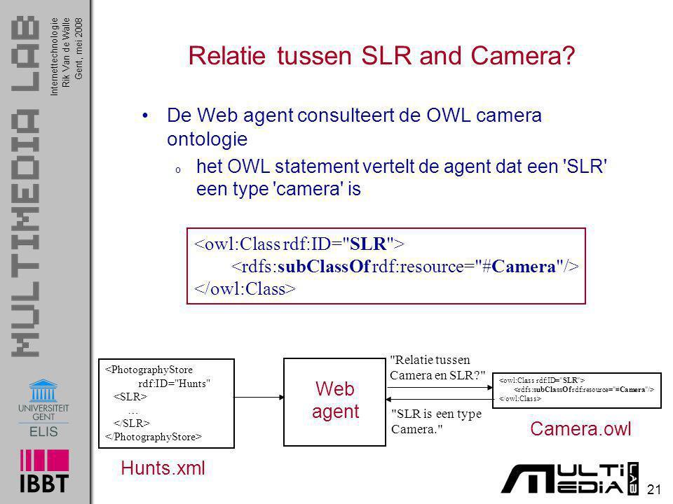 InternettechnologieRik Van de WalleGent, mei 2008 21 Relatie tussen SLR and Camera? De Web agent consulteert de OWL camera ontologie o het OWL stateme
