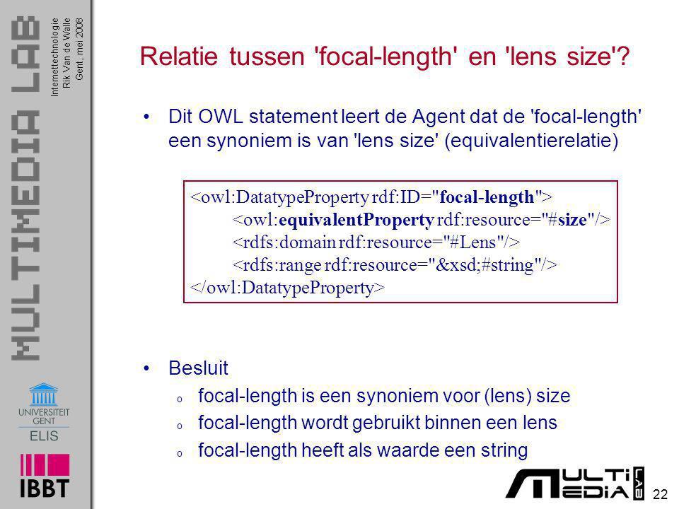 InternettechnologieRik Van de WalleGent, mei 2008 22 Relatie tussen 'focal-length' en 'lens size'? Dit OWL statement leert de Agent dat de 'focal-leng