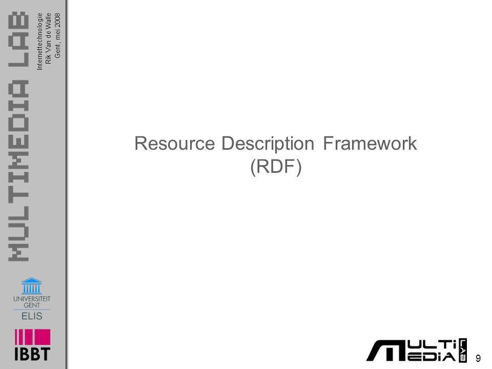 InternettechnologieRik Van de WalleGent, mei 2008 10 Resource Description Framework RDF = Resource Description Framework o Voorbeeld van een RDF statement http://www.example.org/index.html heeft een creator en die heet John Smith Een RDF statement bestaat steeds uit een triplet (Eng.