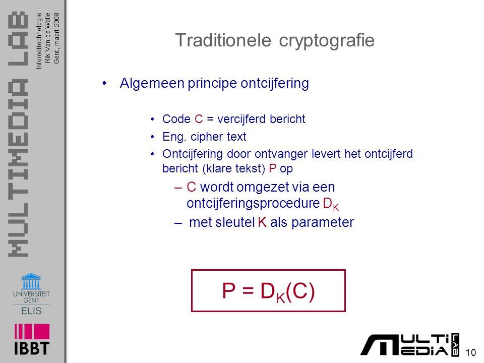 Internettechnologie 10 Rik Van de WalleGent, maart 2008 Traditionele cryptografie Algemeen principe ontcijfering Code C = vercijferd bericht Eng.
