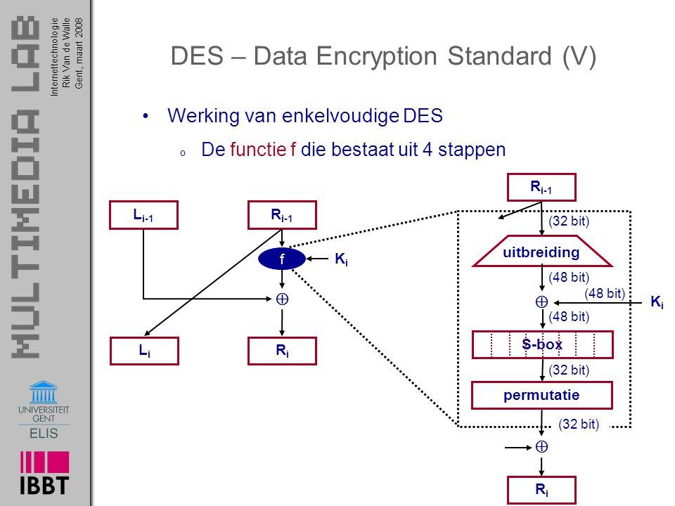 Internettechnologie 32 Rik Van de WalleGent, maart 2008 DES – Data Encryption Standard (V) Werking van enkelvoudige DES L i-1 R i-1 LiLi RiRi f  KiKi permutatie uitbreiding (32 bit) (48 bit)  (32 bit) S-box o De functie f die bestaat uit 4 stappen KiKi R i-1  RiRi (32 bit)