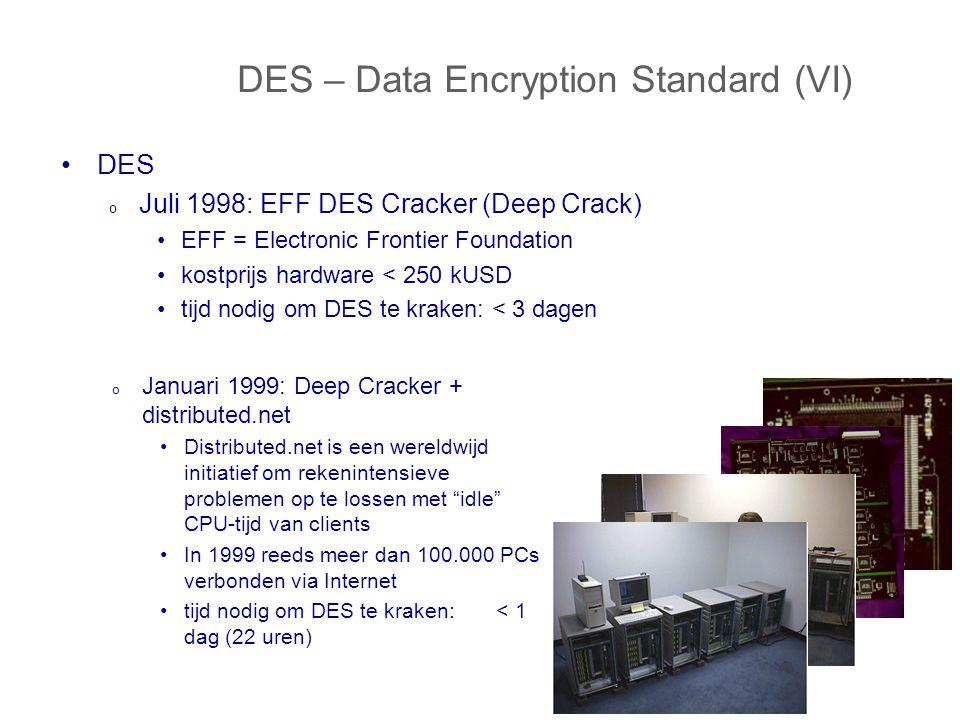 DES – Data Encryption Standard (VI) DES o Juli 1998: EFF DES Cracker (Deep Crack) EFF = Electronic Frontier Foundation kostprijs hardware < 250 kUSD tijd nodig om DES te kraken: < 3 dagen o Januari 1999: Deep Cracker + distributed.net Distributed.net is een wereldwijd initiatief om rekenintensieve problemen op te lossen met idle CPU-tijd van clients In 1999 reeds meer dan 100.000 PCs verbonden via Internet tijd nodig om DES te kraken: < 1 dag (22 uren)