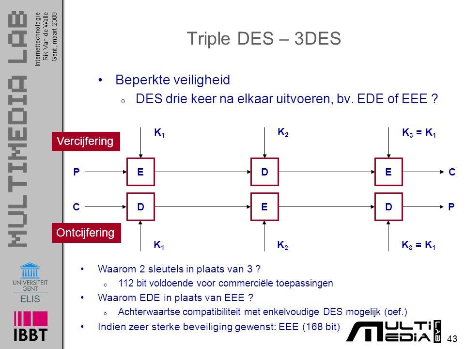 Internettechnologie 43 Rik Van de WalleGent, maart 2008 Triple DES – 3DES Beperkte veiligheid o DES drie keer na elkaar uitvoeren, bv.