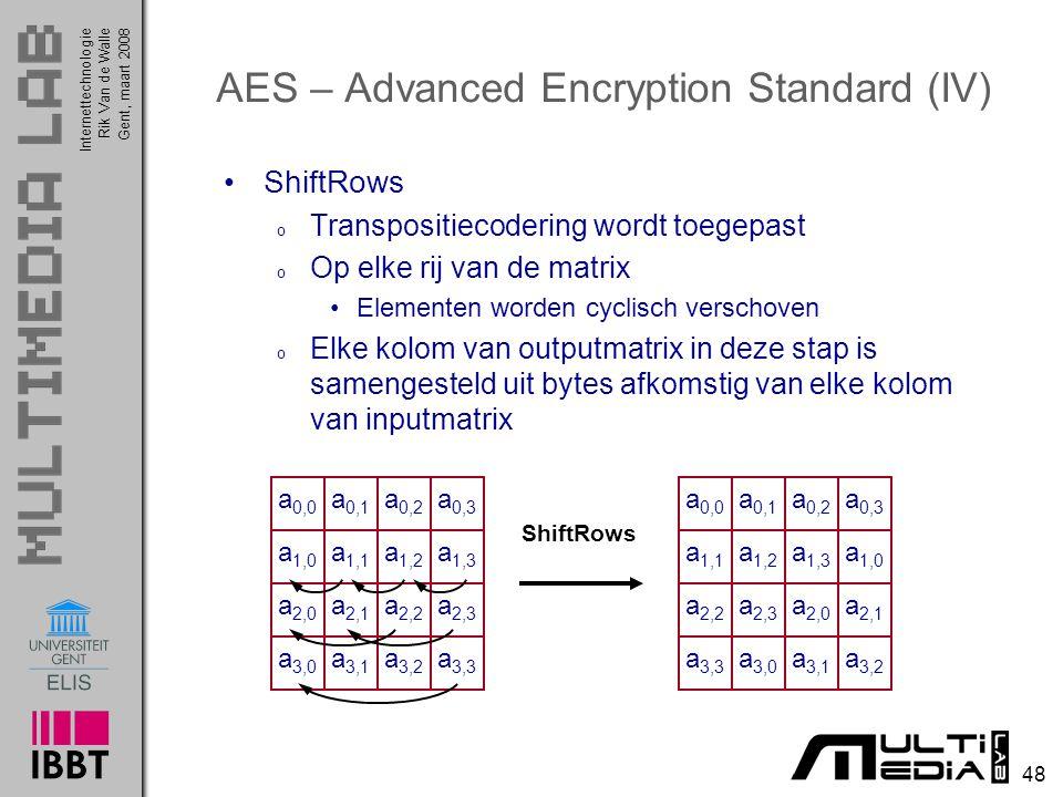 Internettechnologie 48 Rik Van de WalleGent, maart 2008 AES – Advanced Encryption Standard (IV) ShiftRows o Transpositiecodering wordt toegepast o Op elke rij van de matrix Elementen worden cyclisch verschoven o Elke kolom van outputmatrix in deze stap is samengesteld uit bytes afkomstig van elke kolom van inputmatrix a 0,0 a 0,1 a 0,2 a 0,3 a 1,0 a 1,1 a 1,2 a 1,3 a 2,0 a 2,1 a 2,2 a 2,3 a 3,0 a 3,1 a 3,2 a 3,3 ShiftRows a 0,0 a 0,1 a 0,2 a 0,3 a 1,1 a 1,2 a 1,3 a 1,0 a 2,2 a 2,3 a 2,0 a 2,1 a 3,3 a 3,0 a 3,1 a 3,2