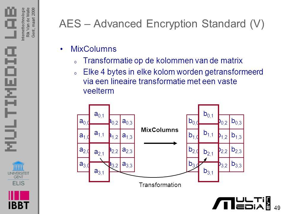 Internettechnologie 49 Rik Van de WalleGent, maart 2008 AES – Advanced Encryption Standard (V) MixColumns o Transformatie op de kolommen van de matrix o Elke 4 bytes in elke kolom worden getransformeerd via een lineaire transformatie met een vaste veelterm a 0,0 a 0,1 a 0,2 a 0,3 a 1,0 a 1,1 a 1,2 a 1,3 a 2,0 a 2,1 a 2,2 a 2,3 a 3,0 a 3,1 a 3,2 a 3,3 b 0,0 b 0,1 b 0,2 b 0,3 b 1,0 b 1,1 b 1,2 b 1,3 b 2,0 b 2,1 b 2,2 b 2,3 b 3,0 b 3,1 b 3,2 b 3,3 MixColumns a 0,1 a 1,1 a 2,1 a 3,1 b 0,1 b 1,1 b 2,1 b 3,1 Transformation