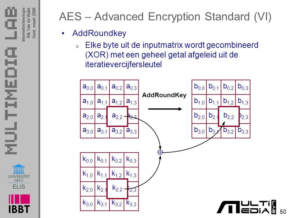 Internettechnologie 50 Rik Van de WalleGent, maart 2008 AES – Advanced Encryption Standard (VI) AddRoundkey o Elke byte uit de inputmatrix wordt gecombineerd (XOR) met een geheel getal afgeleid uit de iteratievercijfersleutel a 0,0 a 0,1 a 0,2 a 0,3 a 1,0 a 1,1 a 1,2 a 1,3 a 2,0 a 2,1 a 2,2 a 2,3 a 3,0 a 3,1 a 3,2 a 3,3 b 0,0 b 0,1 b 0,2 b 0,3 b 1,0 b 1,1 b 1,2 b 1,3 b 2,0 b 2,1 b 2,2 b 2,3 b 3,0 b 3,1 b 3,2 b 3,3 a 2,2 b 2,2 AddRoundKey k 0,0 k 0,1 k 0,2 k 0,3 k 1,0 k 1,1 k 1,2 k 1,3 k 2,0 k 2,1 k 2,2 k 2,3 k 3,0 k 3,1 k 3,2 k 3,3 k 2,2 