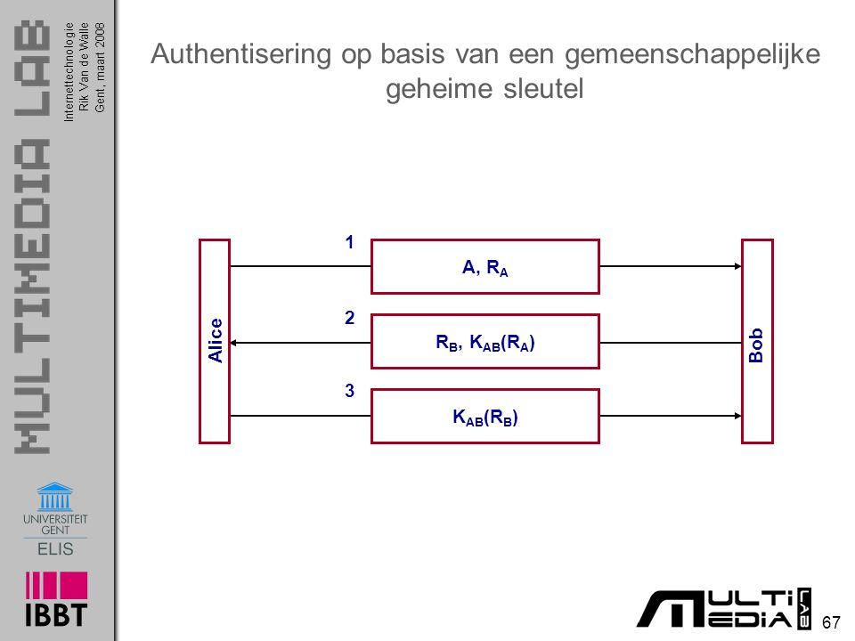 Internettechnologie 67 Rik Van de WalleGent, maart 2008 Authentisering op basis van een gemeenschappelijke geheime sleutel Bob A, R A 1 2 R B, K AB (R A ) 3 K AB (R B ) Alice