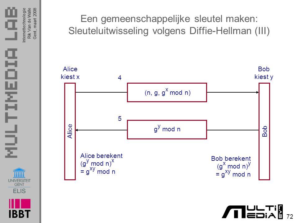 Internettechnologie 72 Rik Van de WalleGent, maart 2008 Een gemeenschappelijke sleutel maken: Sleuteluitwisseling volgens Diffie-Hellman (III) (n, g, g x mod n) g y mod n 4 5 Alice Bob Alice kiest x Bob kiest y Alice berekent (g y mod n) x = g xy mod n Bob berekent (g x mod n) y = g xy mod n