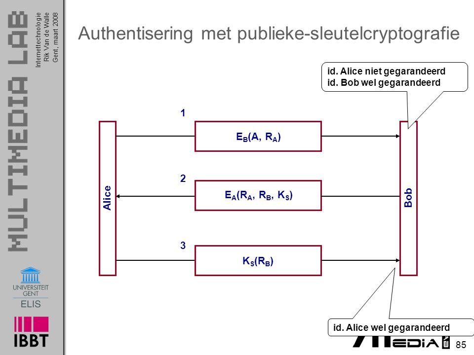 Internettechnologie 85 Rik Van de WalleGent, maart 2008 Authentisering met publieke-sleutelcryptografie Alice Bob E B (A, R A ) 1 E A (R A, R B, K S ) 2 K S (R B ) 3 id.
