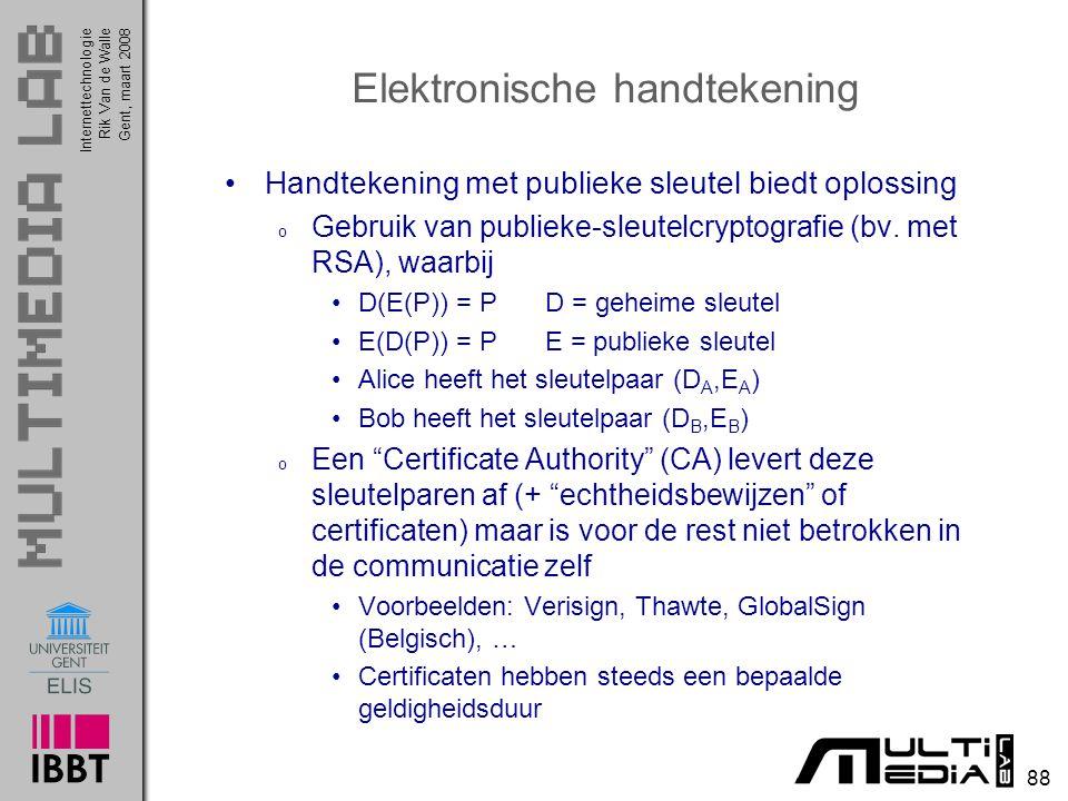 Internettechnologie 88 Rik Van de WalleGent, maart 2008 Elektronische handtekening Handtekening met publieke sleutel biedt oplossing o Gebruik van publieke-sleutelcryptografie (bv.