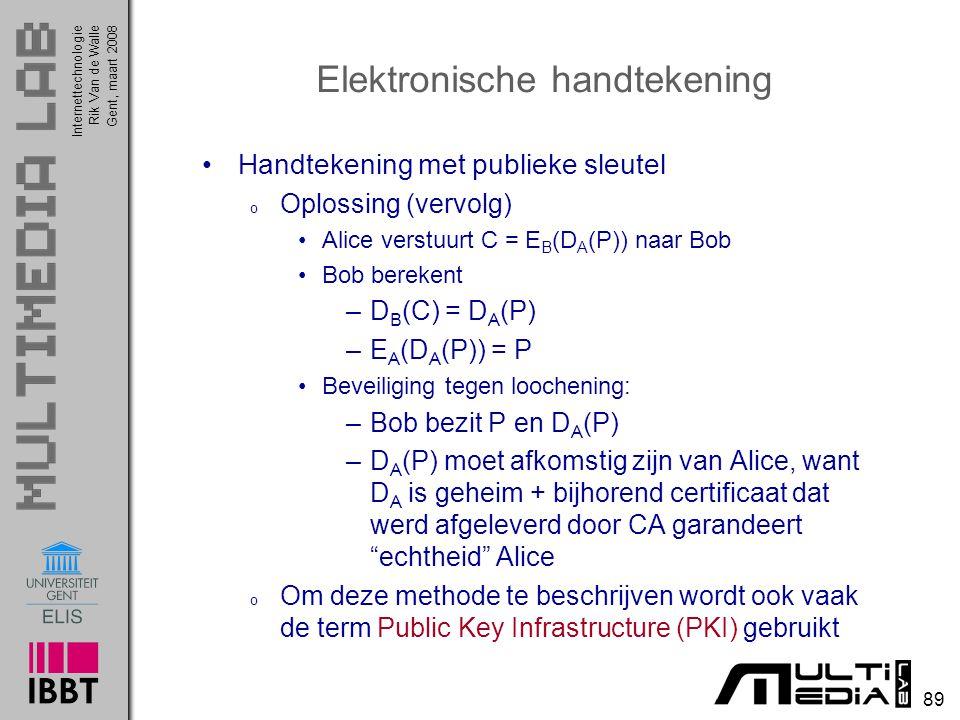 Internettechnologie 89 Rik Van de WalleGent, maart 2008 Elektronische handtekening Handtekening met publieke sleutel o Oplossing (vervolg) Alice verstuurt C = E B (D A (P)) naar Bob Bob berekent –D B (C) = D A (P) –E A (D A (P)) = P Beveiliging tegen loochening: –Bob bezit P en D A (P) –D A (P) moet afkomstig zijn van Alice, want D A is geheim + bijhorend certificaat dat werd afgeleverd door CA garandeert echtheid Alice o Om deze methode te beschrijven wordt ook vaak de term Public Key Infrastructure (PKI) gebruikt
