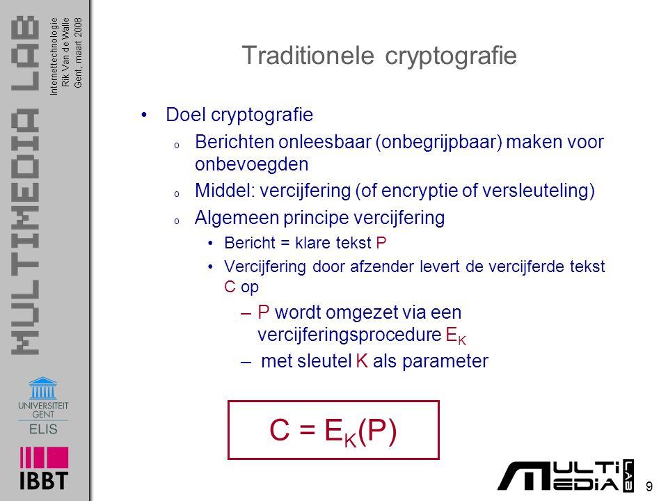 Internettechnologie 9 Rik Van de WalleGent, maart 2008 Traditionele cryptografie Doel cryptografie o Berichten onleesbaar (onbegrijpbaar) maken voor onbevoegden o Middel: vercijfering (of encryptie of versleuteling) o Algemeen principe vercijfering Bericht = klare tekst P Vercijfering door afzender levert de vercijferde tekst C op –P wordt omgezet via een vercijferingsprocedure E K – met sleutel K als parameter C = E K (P)