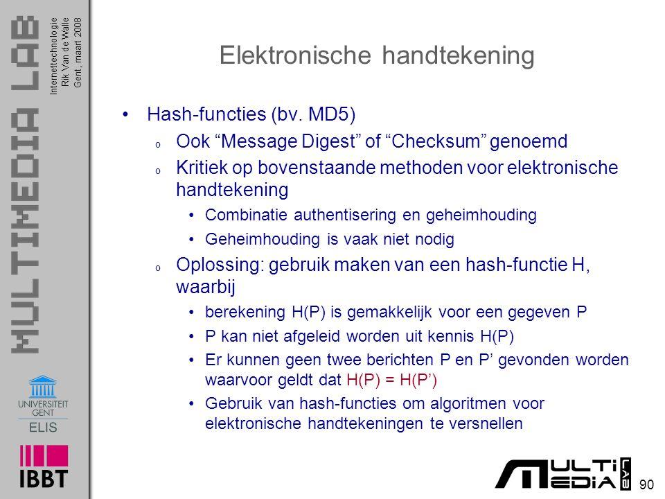 Internettechnologie 90 Rik Van de WalleGent, maart 2008 Elektronische handtekening Hash-functies (bv.