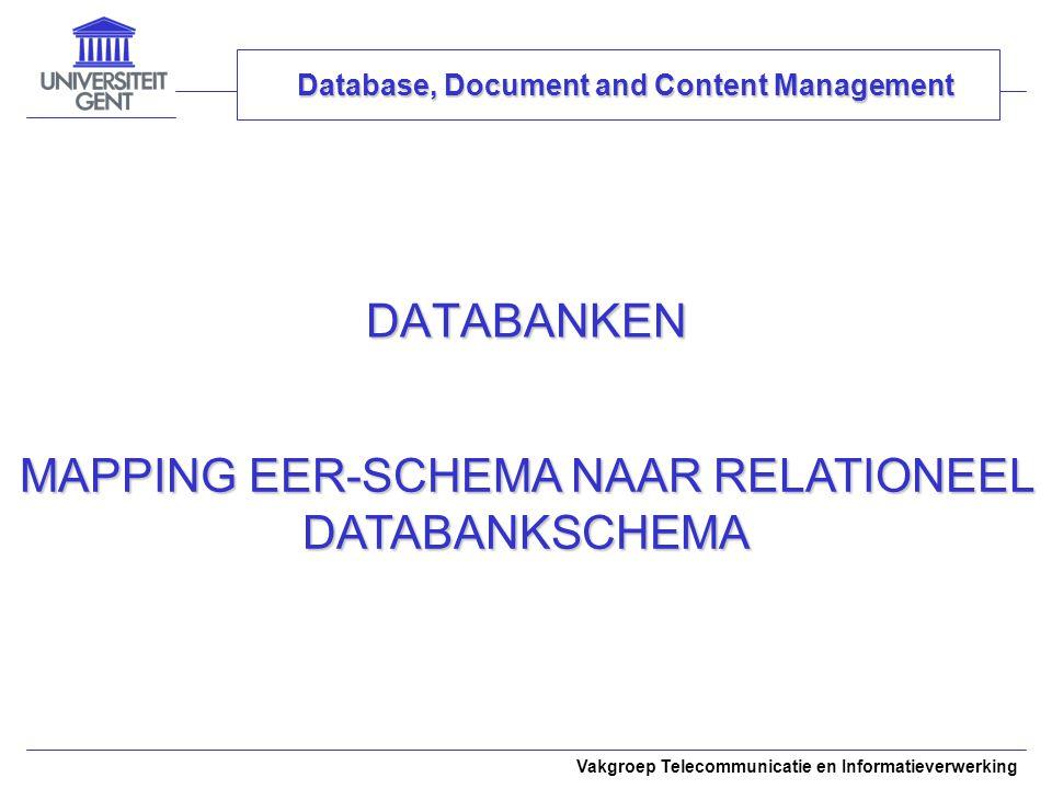 Vakgroep Telecommunicatie en Informatieverwerking DATABANKEN Database, Document and Content Management MAPPING EER-SCHEMA NAAR RELATIONEEL DATABANKSCH