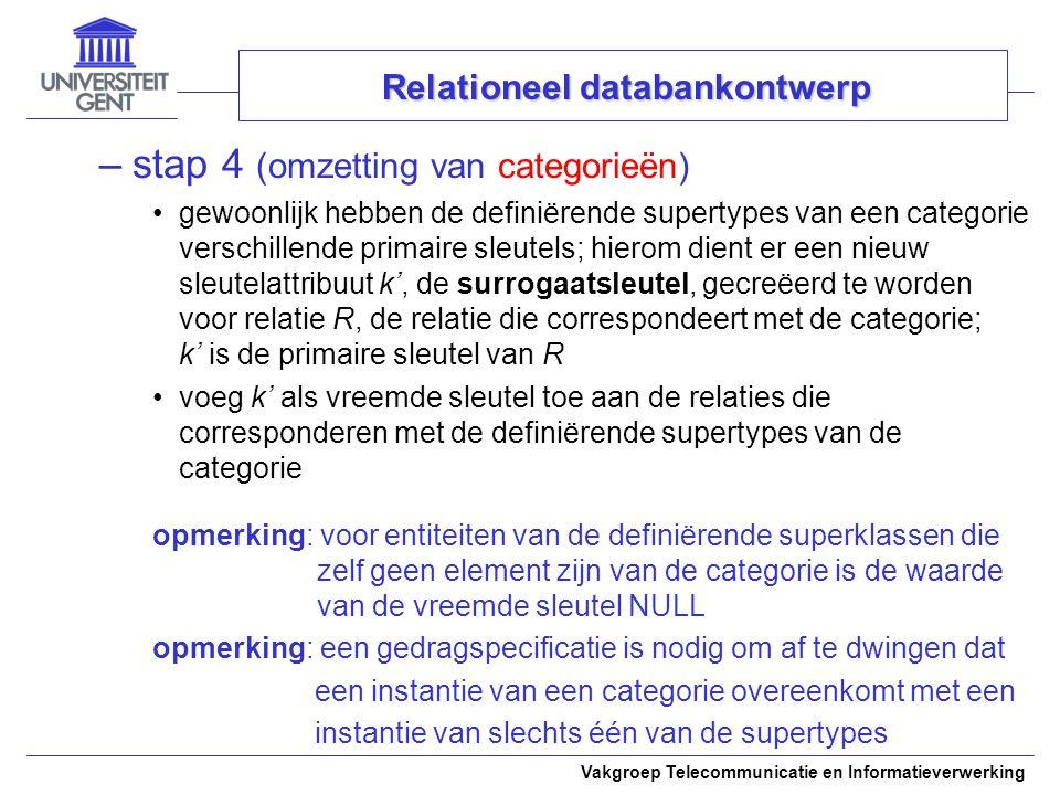 Vakgroep Telecommunicatie en Informatieverwerking –stap 4 (omzetting van categorieën) gewoonlijk hebben de definiërende supertypes van een categorie v