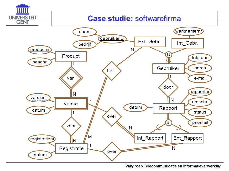Vakgroep Telecommunicatie en Informatieverwerking Case studie: softwarefirma werknemernr Product van 1 N datum Versie voor M Ext_Gebr.  U Int_Gebr.Ra