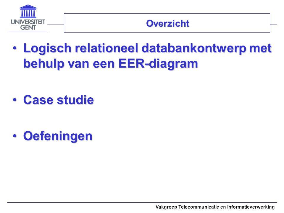 Vakgroep Telecommunicatie en Informatieverwerking Overzicht Logisch relationeel databankontwerp met behulp van een EER-diagramLogisch relationeel data
