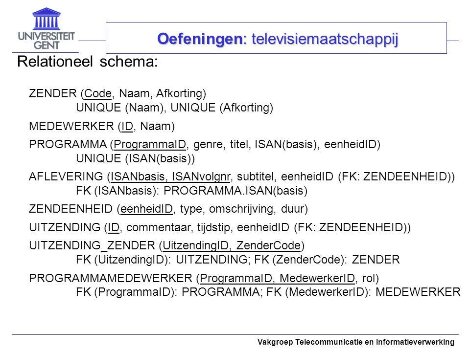 Vakgroep Telecommunicatie en Informatieverwerking Relationeel schema: Oefeningen: televisiemaatschappij ZENDER (Code, Naam, Afkorting) UNIQUE (Naam),