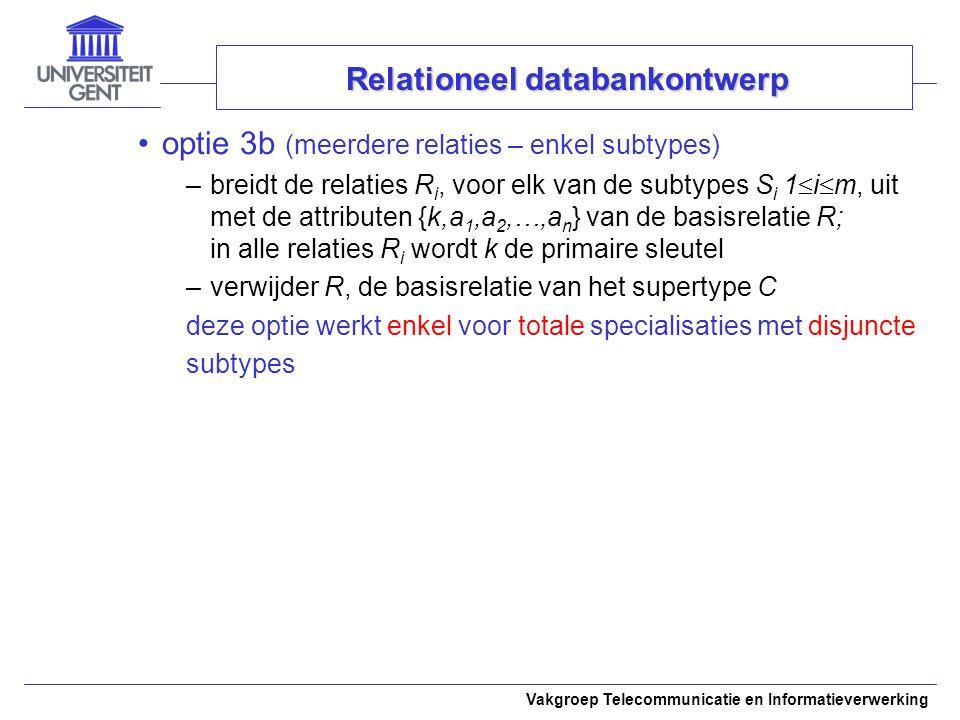 Vakgroep Telecommunicatie en Informatieverwerking optie 3b (meerdere relaties – enkel subtypes) –breidt de relaties R i, voor elk van de subtypes S i