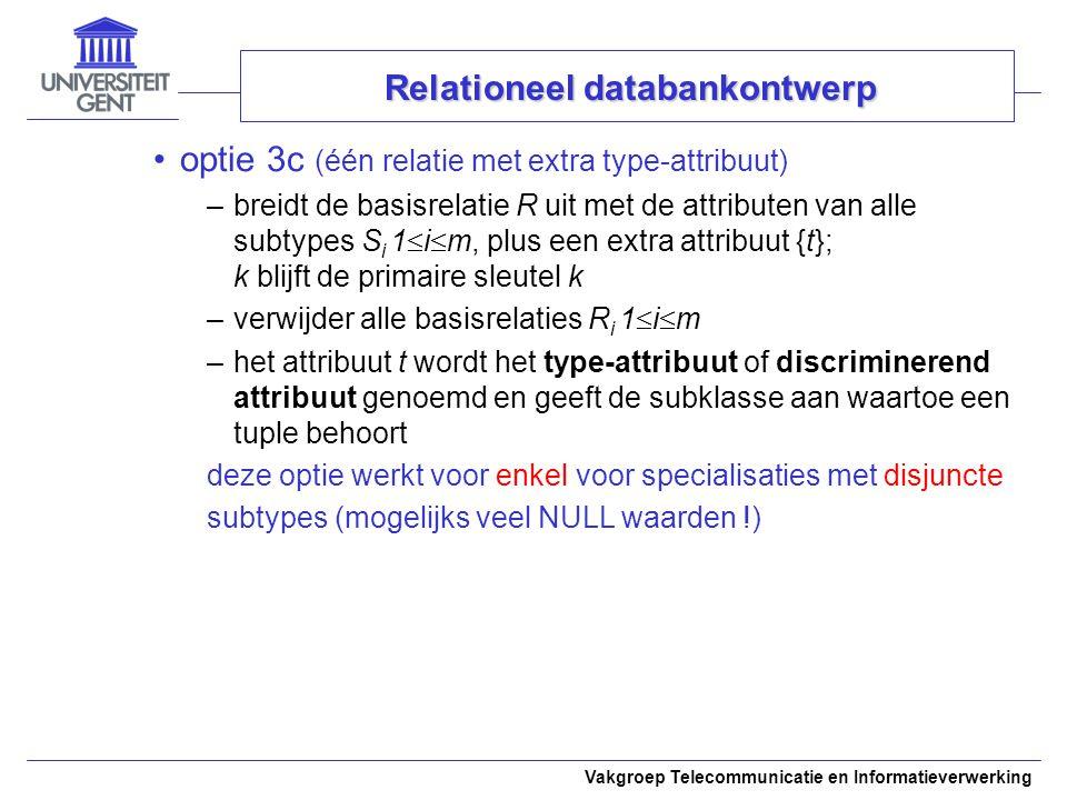 Vakgroep Telecommunicatie en Informatieverwerking optie 3c (één relatie met extra type-attribuut) –breidt de basisrelatie R uit met de attributen van