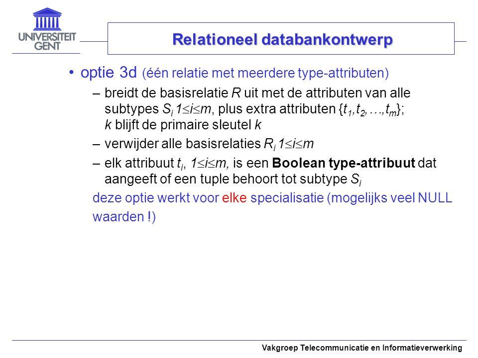 Vakgroep Telecommunicatie en Informatieverwerking optie 3d (één relatie met meerdere type-attributen) –breidt de basisrelatie R uit met de attributen