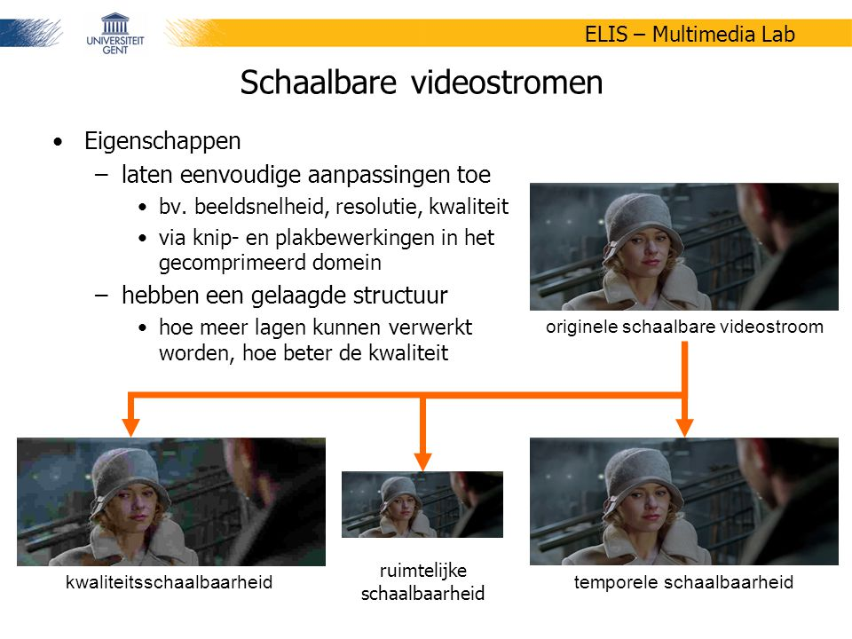49/58 ELIS – Multimedia Lab Enkele trends in multimedia - Foutbestendigheid en adaptiviteit in H.264/AVC Wesley De Neve, Peter Lambert, Rik Van de Walle 17 april 2007 eindgebruiker aanbieder SVC- videostroom JPEG 2000- afbeelding BSAC- audiostroom Motivatie XML-gedreven adaptatie (3/3) Beschrijvingen maken de ontwikkeling van een formaatonafhankelijk adaptatiesysteem voor schaalbare bitstromen mogelijk adaptatiecomponent voor SVC aangepaste videostroom digitale video (bv.