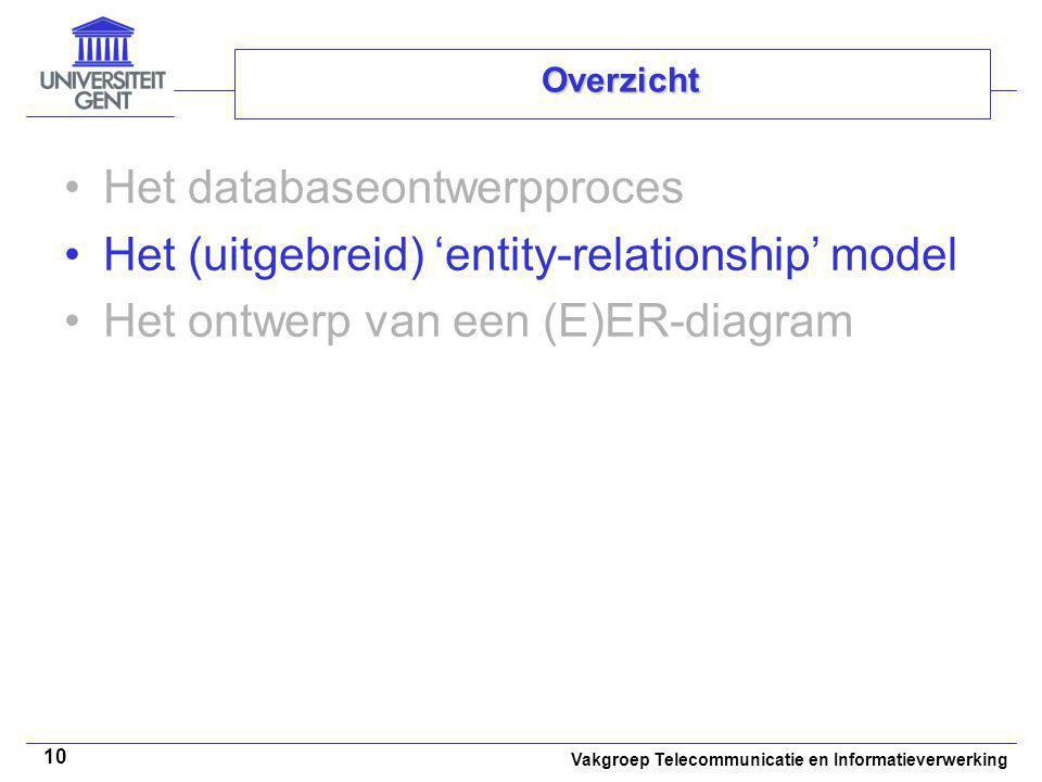 Vakgroep Telecommunicatie en Informatieverwerking 10 Overzicht Het databaseontwerpproces Het (uitgebreid) 'entity-relationship' model Het ontwerp van