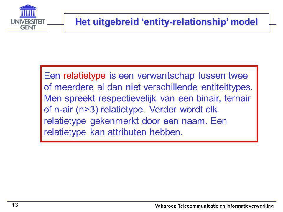 Vakgroep Telecommunicatie en Informatieverwerking 13 Het uitgebreid 'entity-relationship' model Een relatietype is een verwantschap tussen twee of mee