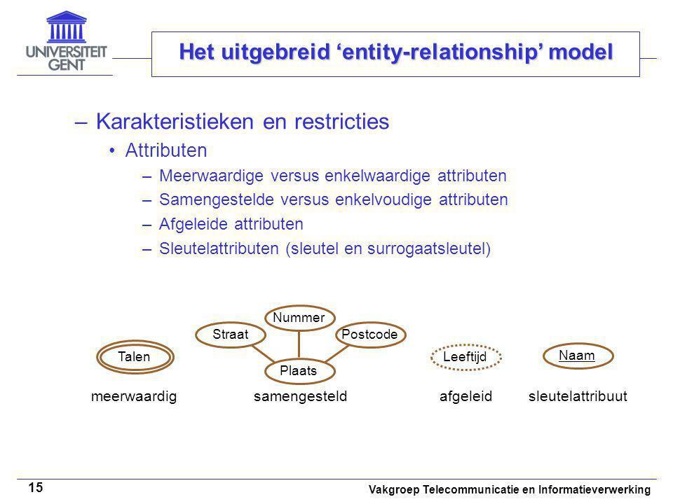 Vakgroep Telecommunicatie en Informatieverwerking 15 Het uitgebreid 'entity-relationship' model –Karakteristieken en restricties Attributen –Meerwaard
