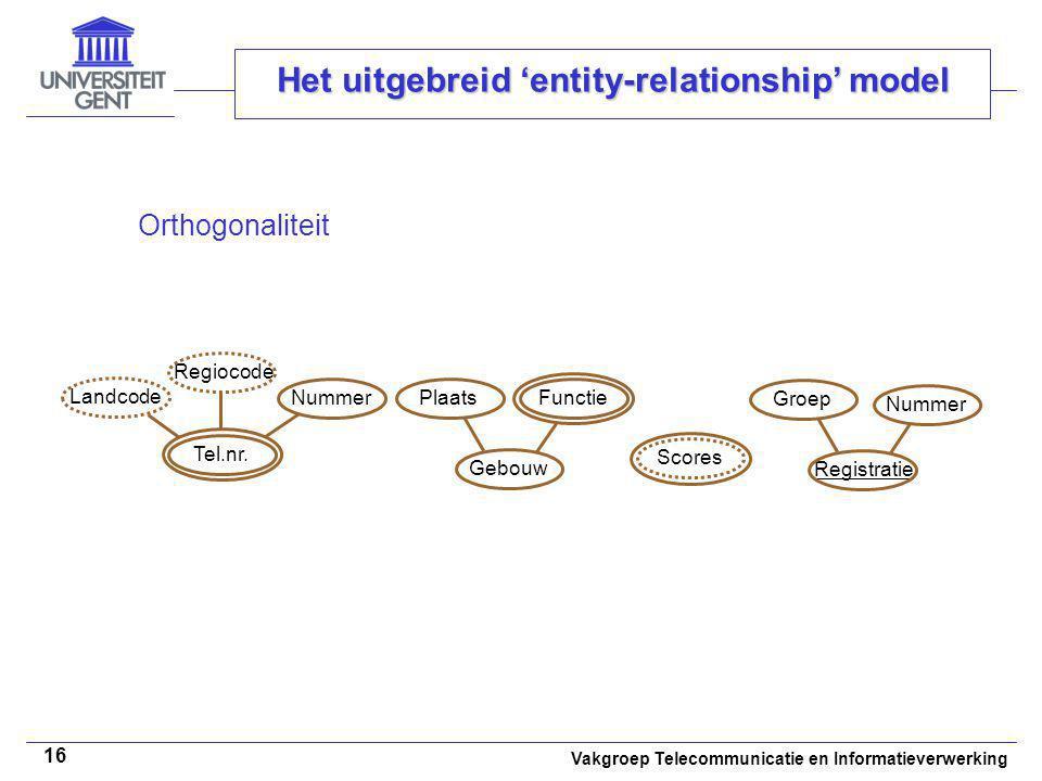 Vakgroep Telecommunicatie en Informatieverwerking 16 Het uitgebreid 'entity-relationship' model Orthogonaliteit Tel.nr. Landcode Regiocode NummerGebou