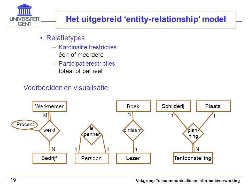 Vakgroep Telecommunicatie en Informatieverwerking 19 Het uitgebreid 'entity-relationship' model Relatietypes –Kardinaliteitrestricties één of meerdere